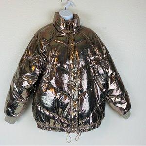 H&M Gold Metalic Puffer Jacket Size 8